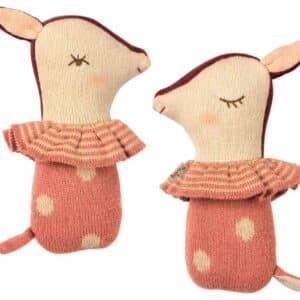 Hochet Bambi en tricot rose Maileg