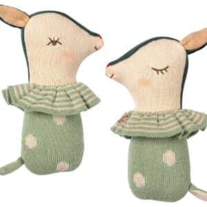 Hochet Bambi en tricot vert Maileg