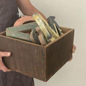 Boîte vintage en bois recyclé