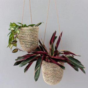 Panier à suspendre en feuille de palmier – Medium