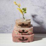 Set de 3 Valises Vintage à Fleurs