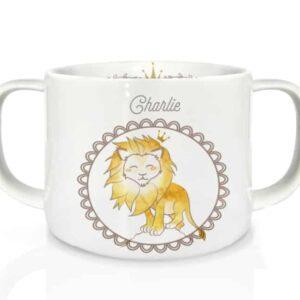 Tasse double anse en porcelaine Lion
