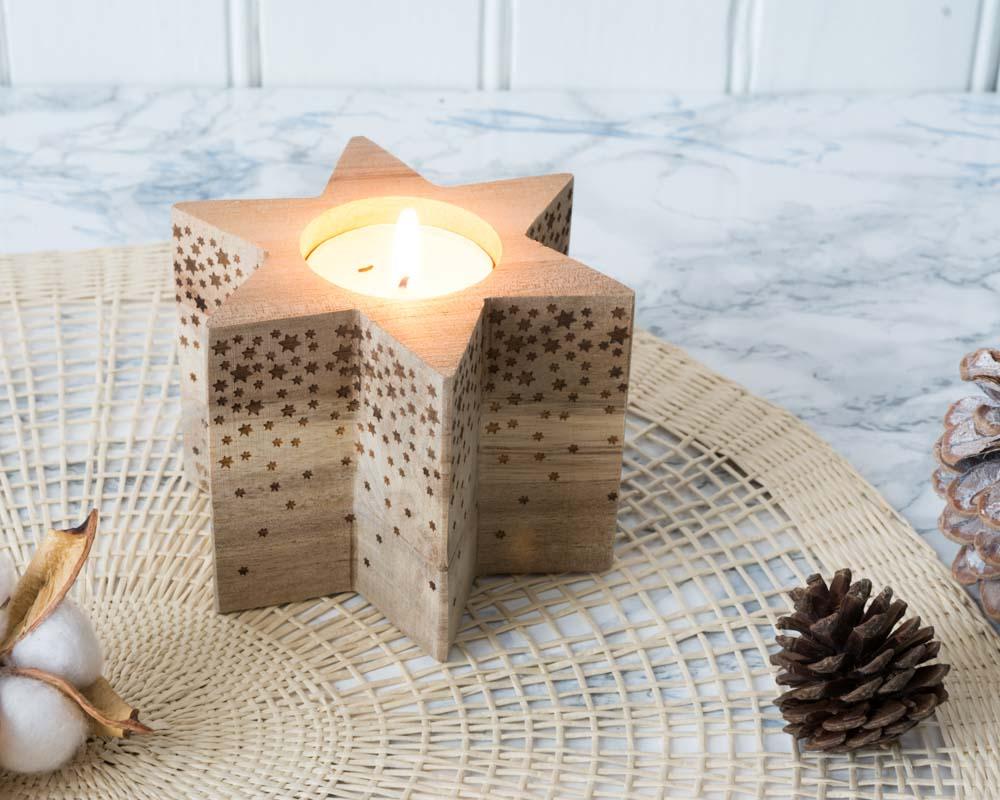 Photophore en bois en forme d'étoile Räder